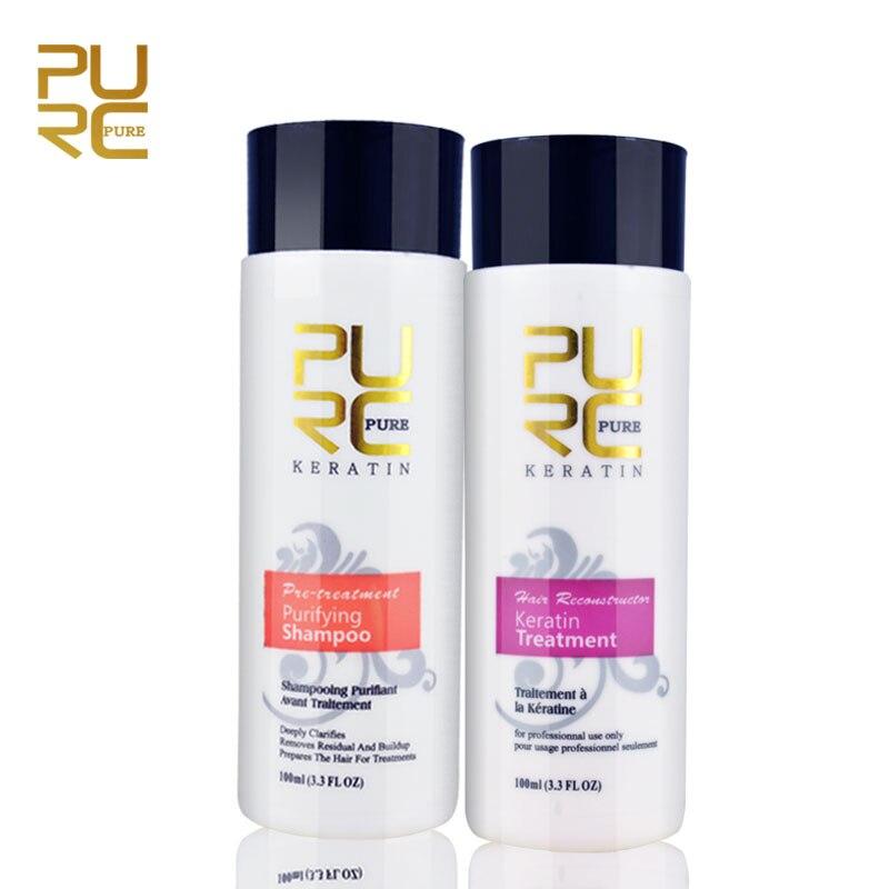 PURC 2 stücke ein satz 200 ml Haar Reparatur Und Begradigen Schaden Haar Produkte 5% Brasilianische Keratin Behandlung + Reinigung shampoo P12