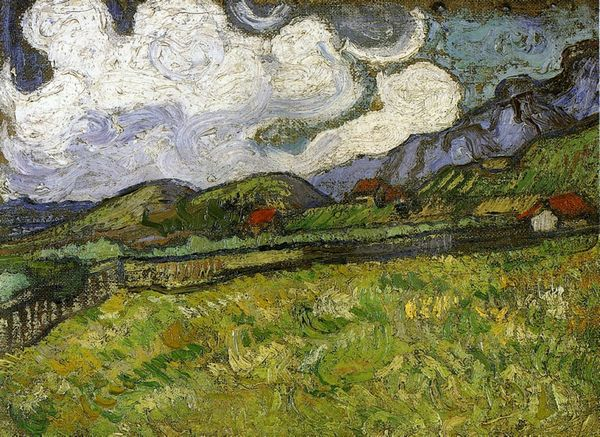 Decoration wall pictures Van Gogh Wheat Field behind Saint-Paul Hospital with a Reaper reproduction oil painting gift No Frame