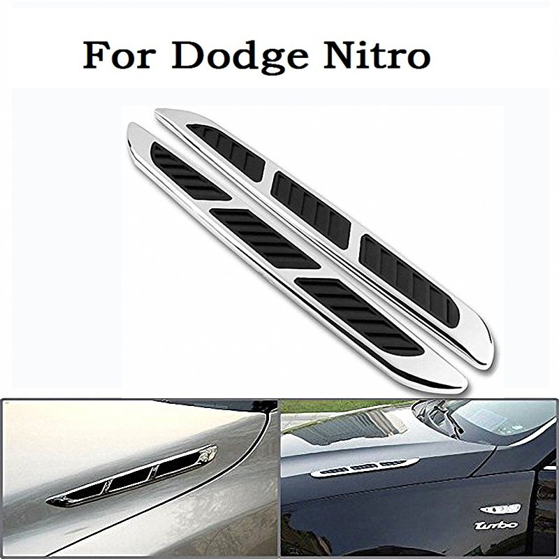US $9 97 |new Car Style Custom Chrome Plated Black Decorative Bonnet Hood  Air Flow Intake Turbo Side Vent Cover 3M Tape For Dodge Nitro-in Car