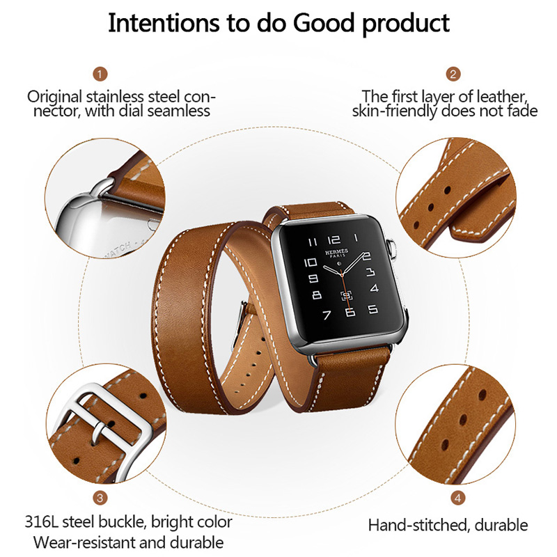Купить с кэшбэком Genuine Leather Band for apple watch 44mm 42mm 40mm 38mm Double Tour Bracelet Strap Watchband iwatch Series 5 4 3 2 Replacement