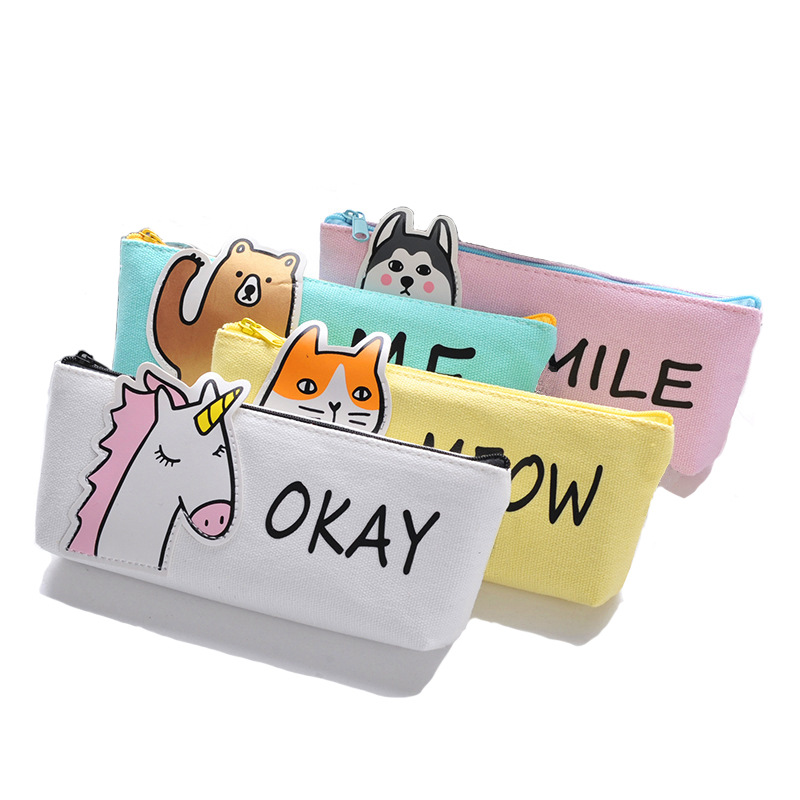 Cute Half Animal Unicorn Canvas Large Capacity Pencil Bag Stationery Storage Organizer Pencil Case School Supply sst 50 smooth aluminum reflector 5 1cm diameter