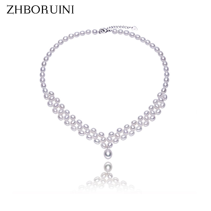 ZHBORUINI 2017 Pearl Necklace Natural Freshwater Pearl Choker Necklace Pearl Jewelry 925 Sterling Silver Necklace For Women vintage layered faux pearl bar choker necklace for women