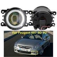 2x Angel Eyes Fog Lamp Assembly Super Bright LED Fog Light white For Peugeot 607 (9D, 9U) Saloon 2000 2006