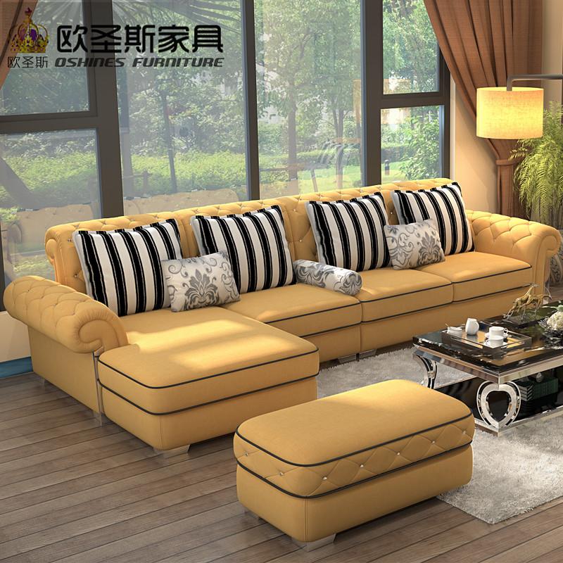 Luxury High quality europe new classic chesterfield crystal buttons stailess steel light yellow full velvet fabric sofa set 112F high quality new full set replacement