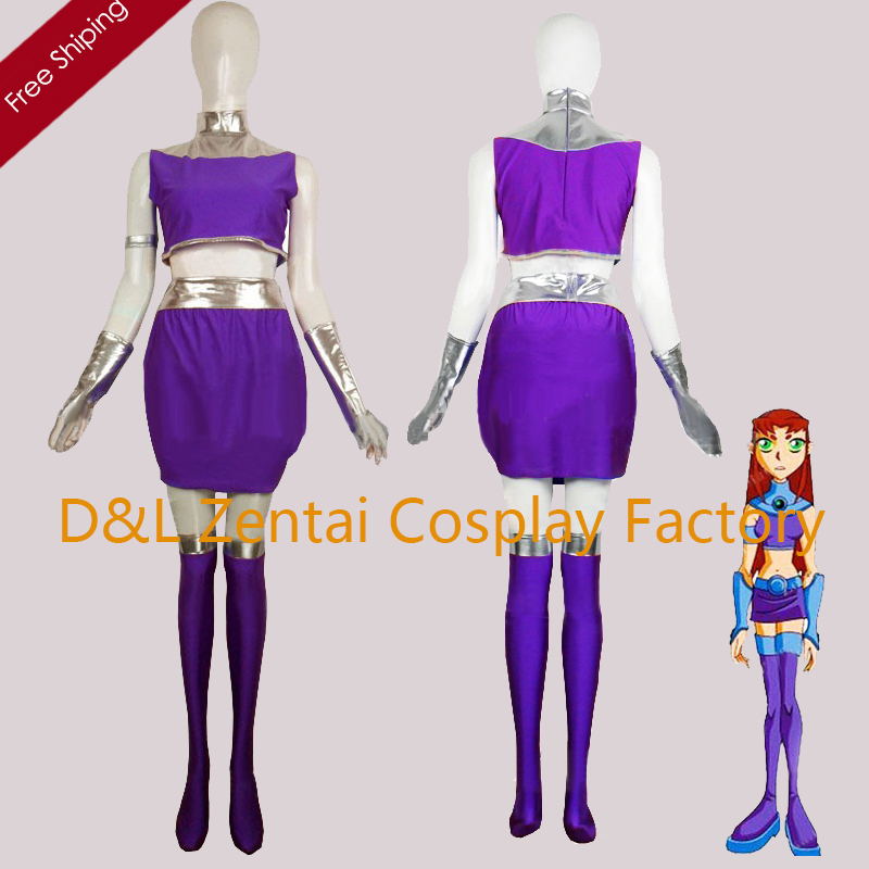 Free Shipping DHL Adult Purple Lycra DC Comics Starfire Superhero Costume Halloween Party Cosplay Zentai suit SH2332