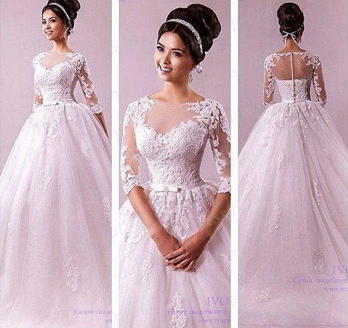 Spanish Wedding Dresses: Free Shipping Ball Gown Bateau Neck Appliques Half Sleeve