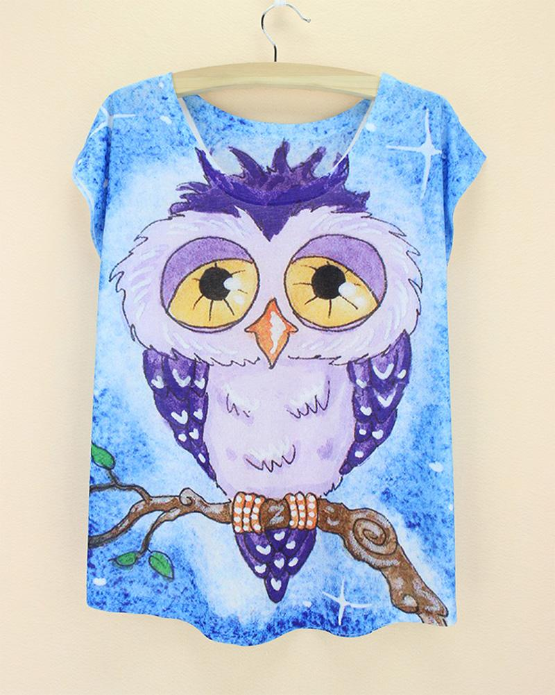 cat owl print 3d white t-shirt 2015 new cheap dog bird bunny printed summer women clothes harajuku discount  free size tops stuffed toy