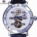 Мужские часы Forsining  Классические Автоматические механические часы из натуральной кожи с белым циферблатом и синим циферблатом