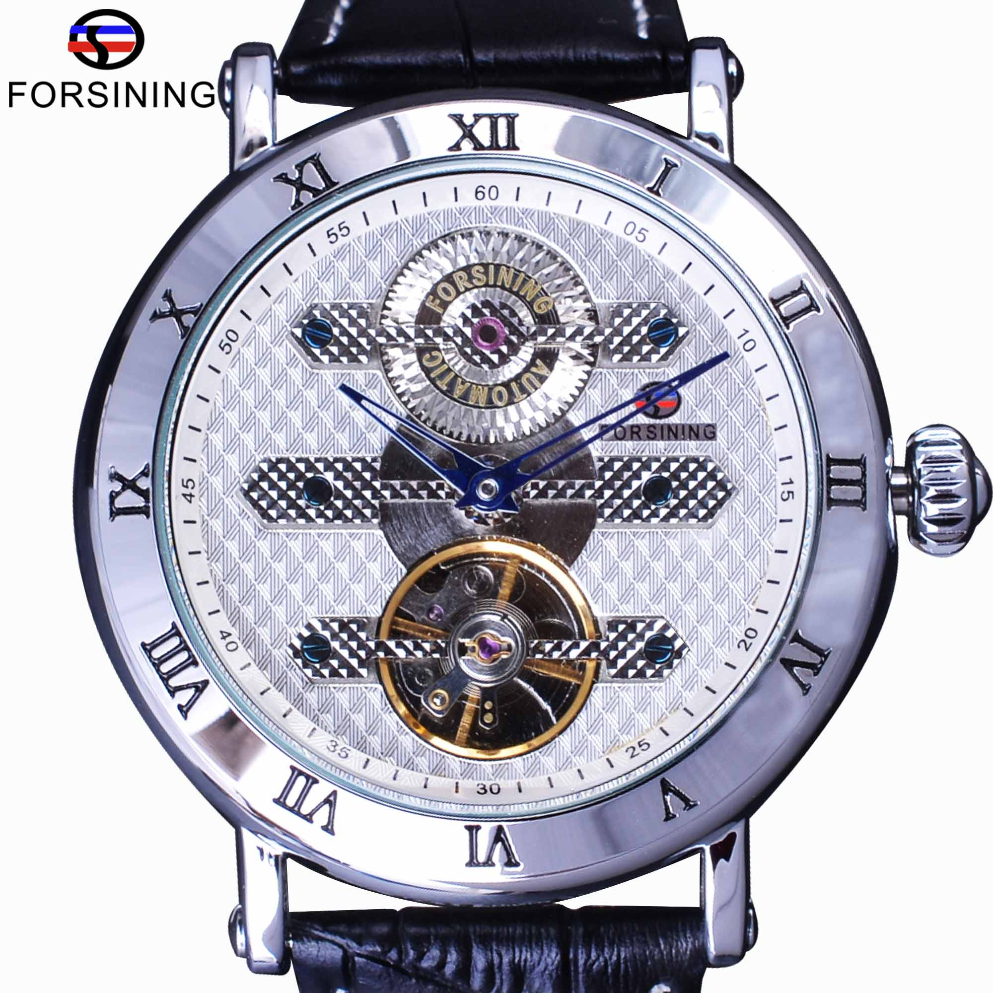 Forsining Classic Fashion Tourbillion Genuine Leather White Dial Blue Hand Automatic Mechanical Watch Men Watch Top Brand Luxury цена