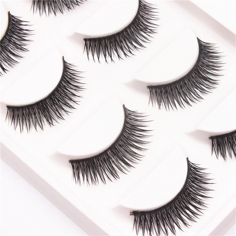 5 Pairs Soft Long Makeup Cross False Eyelashes Handmade Nautral Thick Make Up Eye Lashes Extension