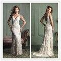 Новый Fashon 2016 кружева свадебные платья винтаж кот V шеи Cap рукавом женщины свадебные платья спинки vestidos noiva