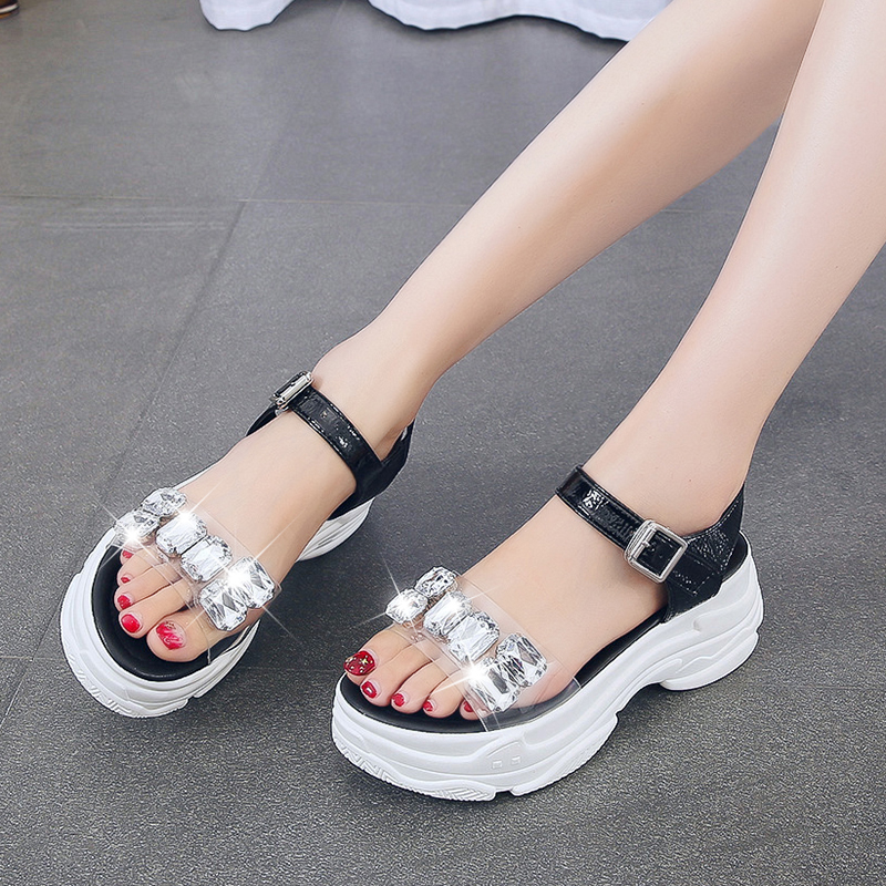2019 new women wedges sandals open toe ankle strap with diamond sandals black silver transparent shoes(China)
