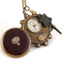 Unisex Vintage Copper Pocket Watch Mechanical Key Wind