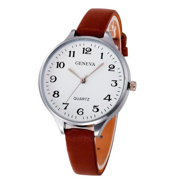 2018 High Quality Women Casual Checkers Faux Leather Quartz Analog Wrist Watch Classic Round Ladies Women Montre Femme Classy