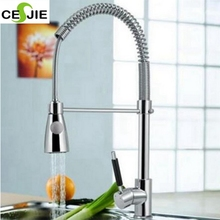 Chrome Kitchen Swivel Spout Deck Mounted Sink Faucet Pull Down Spray Mixer Tap
