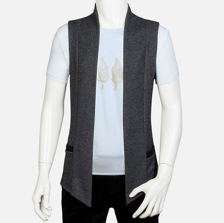 Лето Стиль Для мужчин Безрукавки для женщин Вязание маленькое пальто Slim Fit с капюшоном Толстовка Повседневное куртка без рукавов жилет - Цвет: Серый