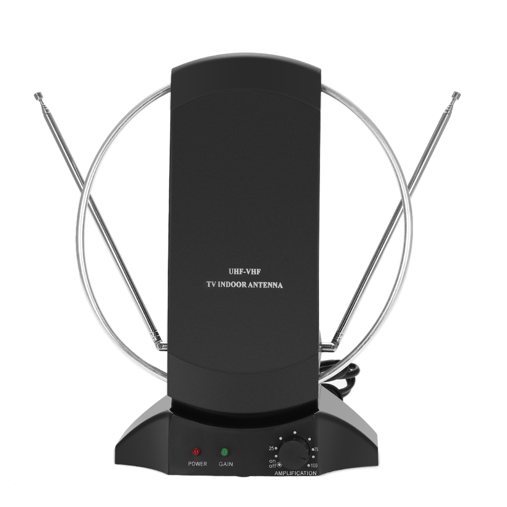LAN-1014 Digital TV Antenna Indoor Amplified HDTV Antenna 50 Mile Range 36dB UHF / VHF / FM Signal for HDTV / DTV US Plug