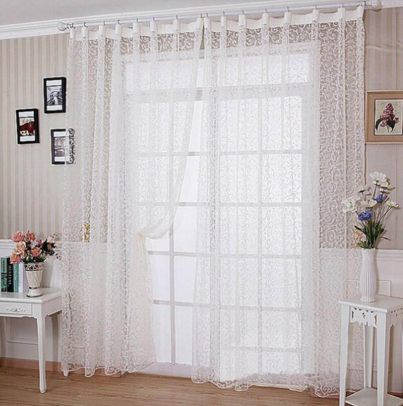 Compra volantes cortinas de la cocina online al por mayor for Cortinas transparentes salon