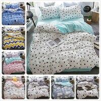 Milk White Green Stripe AB Side Duvet Cover Bedsheet Pillowcase 3pcs/4pcs Bedding Set Soft Cotton Kids Bed Linens Single 150x200
