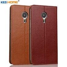 Meizu MX5 случае kezihome личи Натуральная кожа флип Стенд кожаный чехол Капа для Meizu MX5 телефон случаях Coque