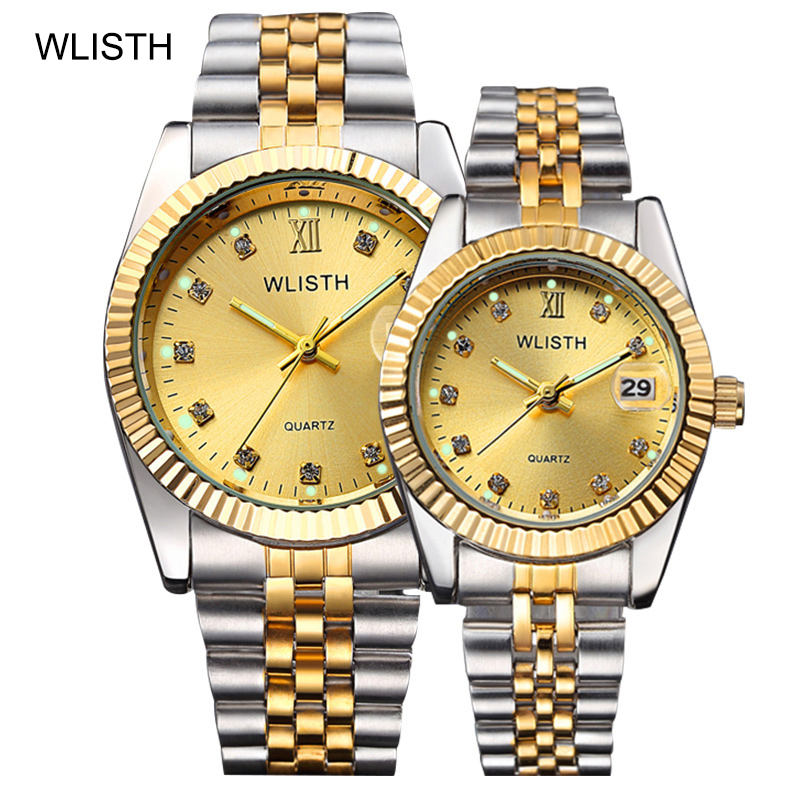 WLISTH Top Brand Luxury Gold Watch Men Women Watches Auto Date Waterproof Couple Watch Fashion Stainless Steel Watch Set Clock