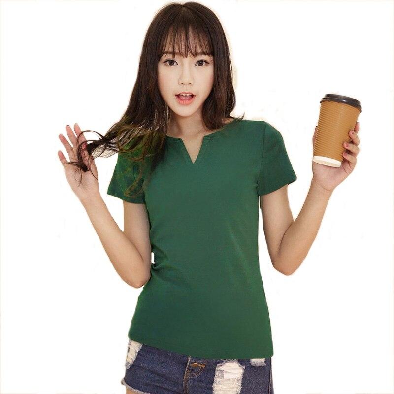 V NECK T Shirt Women Summer Plus Size M-4XL t-shirt Tops Casual Solid Short Sleeve T Shirt Black/White/Red/Green Top A211 white short sleeve v neck asymmetric t shirt