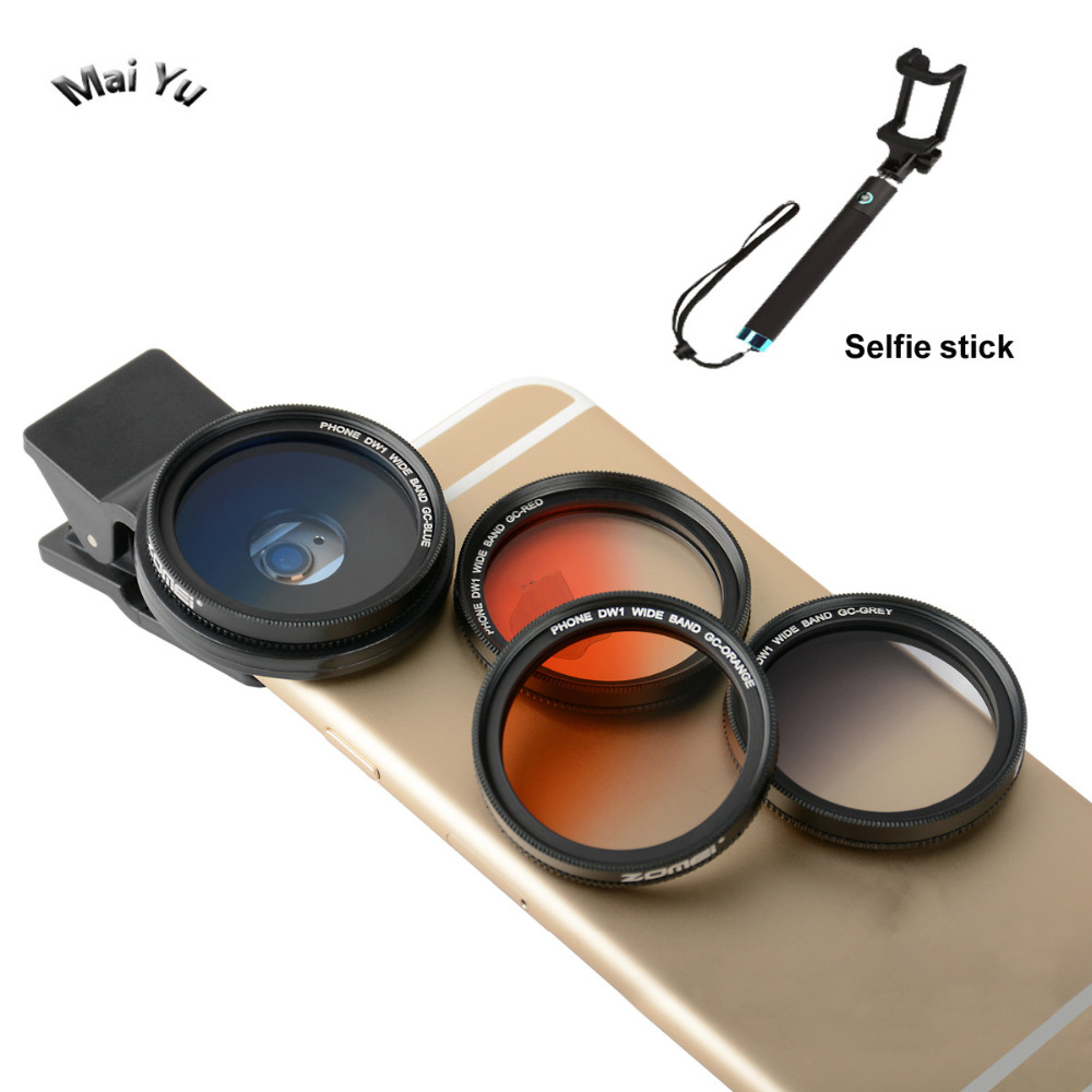 Professional 37mm Mobile Phone Filter Gray Orange Blue Red Gradient Filters Phone Lens For IPhone For Samsung Etc Selfie Stick