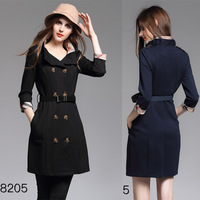 2018 New Roman Cloth British Style Patchwork Double Breasted Windbreaker Spring Fall Slim Women Trench Coat