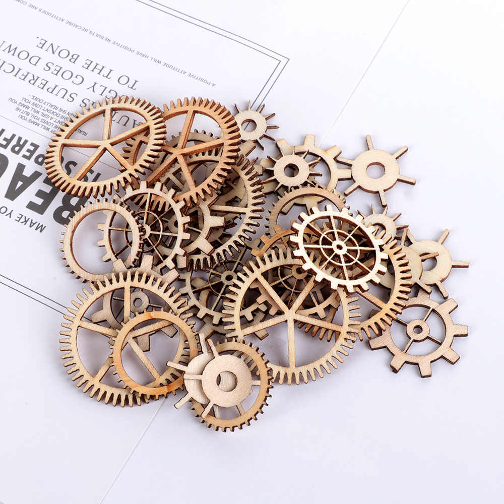 36Pcs/Pack Mixed Round Hollow Wooden Craft Wheel Gear Pattern Scrapbooking Steam Punk Decoration Embellishments
