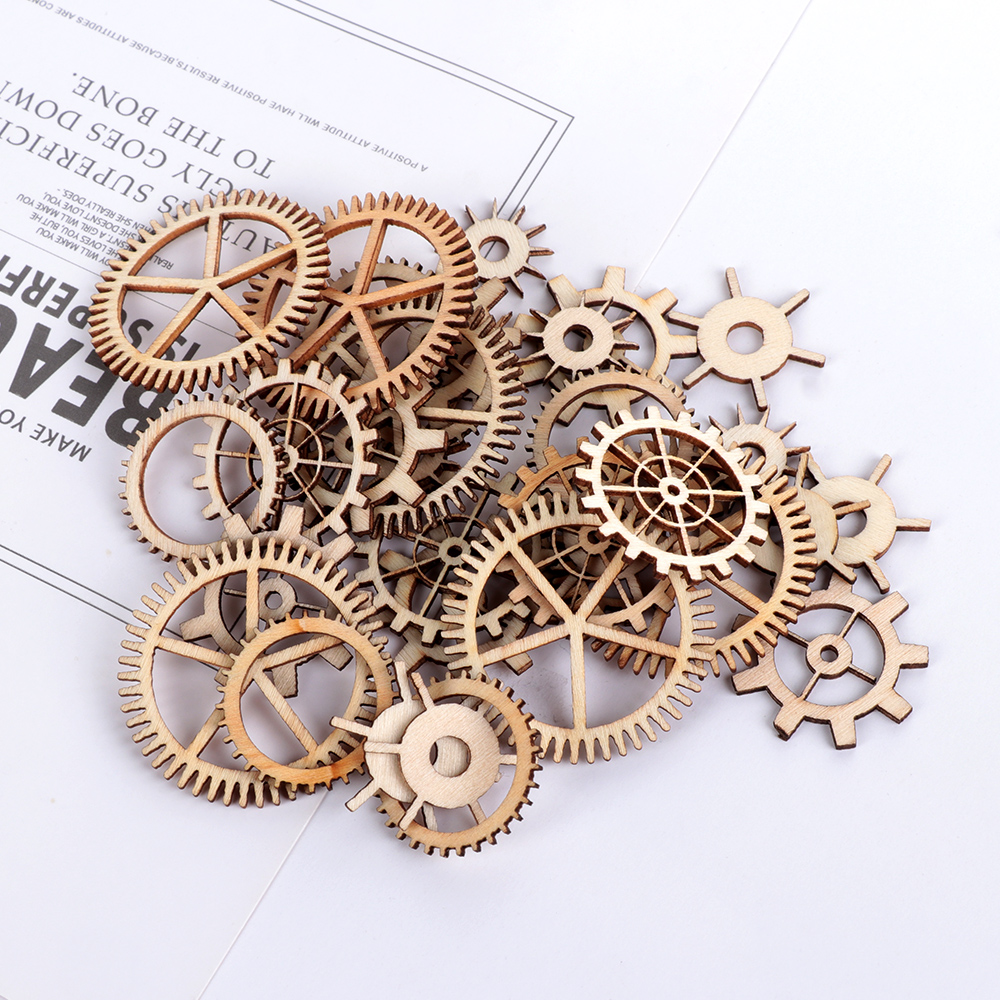 36Pcs/Pack Mixed Round Hollow Wooden Craft Wheel Gear Pattern Scrapbooking Steam Punk Decoration Embellishments(China)