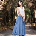 Sin mangas Del O-cuello Blanco Azul Patchwork Midi Vestidos Largos de Verano de Lino de Las Mujeres Mori Vestido de la muchacha Ocasional Vestidos de Lino de La Vendimia B093