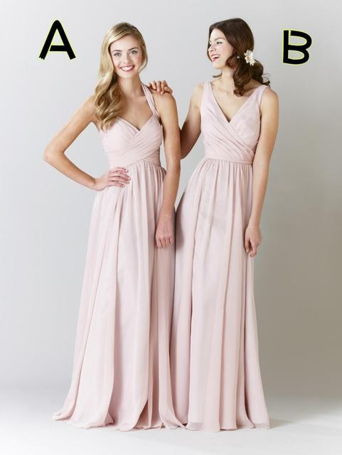 High Quality 2015 Plus Size Bridesmaid Dresses Chiffon Light Pink
