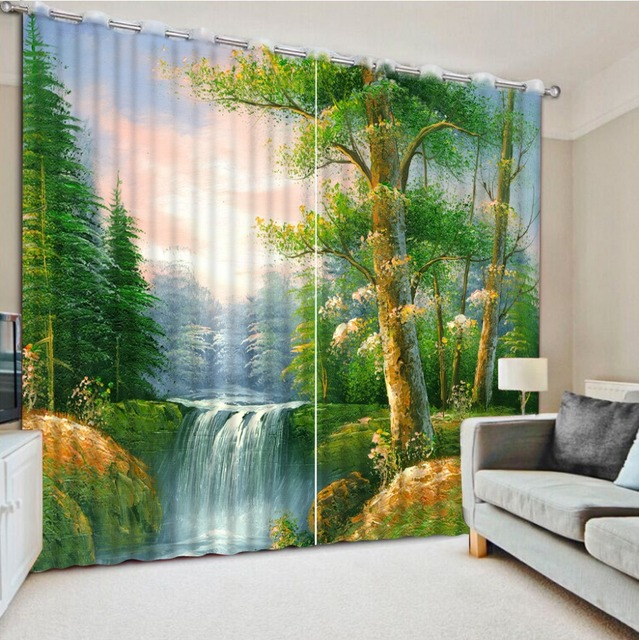 foto tirai jendela untuk ruang tamu pemandangan hijau tirai kustom