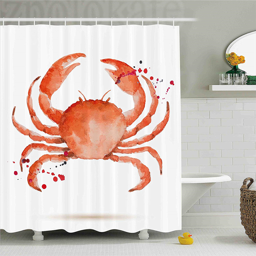 Crabs Decor Shower Curtain Sea Animals Theme Watercolor Style Effect A Big Crab On White Background Print Fabric Bathroom Deco