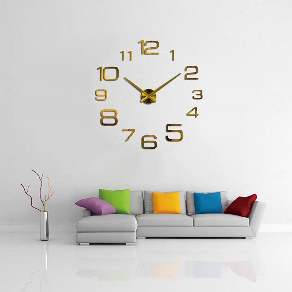 3D lumineux réel grande horloge murale précipité miroir autocollant mural bricolage salon décor à la maison mode montres Quartz grandes horloges murales