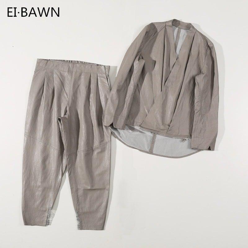 Fashion Suit Lamb Genuine-Leather Shirt Harem-Pants Sheepskin Autumn Gray Casual Loose