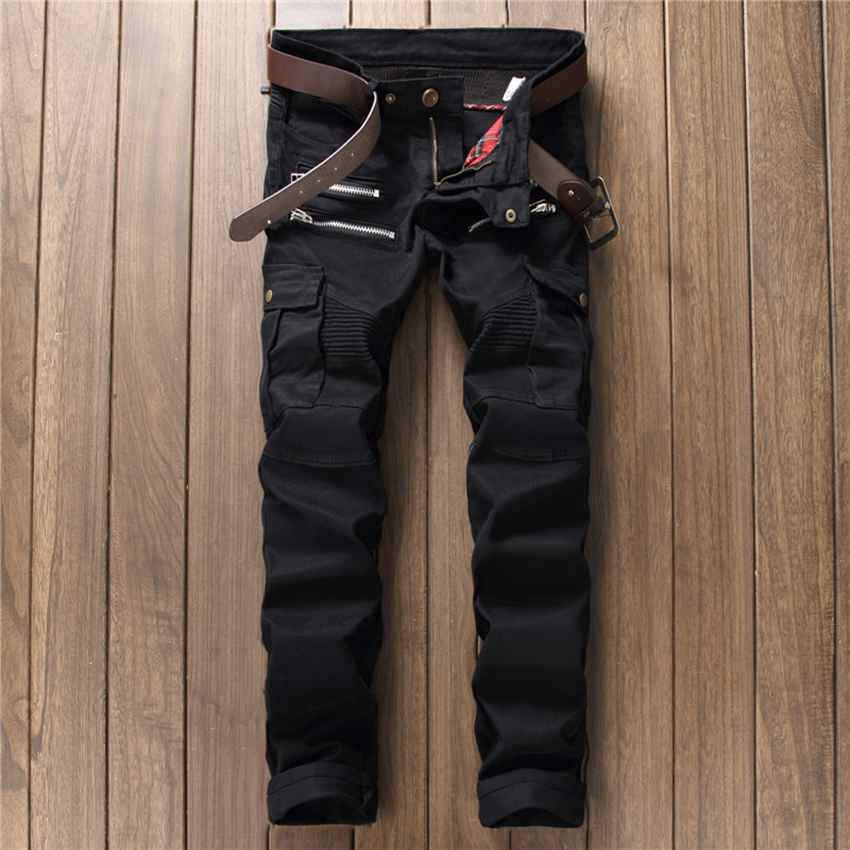 #1538 Mens patchwork jeans Straight Mens distressed jeans Motorcycle pants Black ripped jeans Distressed Pantalon jean homme