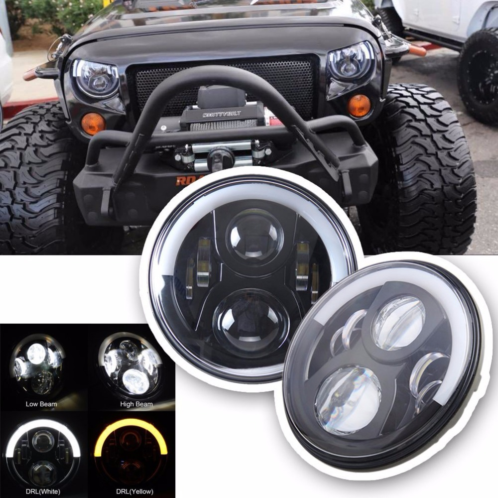 1 Pair 7 LED Headlight For Lada 4x4 urban Niva Headlamp with Halo Angel Eye & White DRL & Amber Turn Signal Lights Wrangler JK