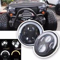 1 Pair 7 LED Headlight For Jeep Wrangler JK Headlamp With Halo Angel Eye White DRL