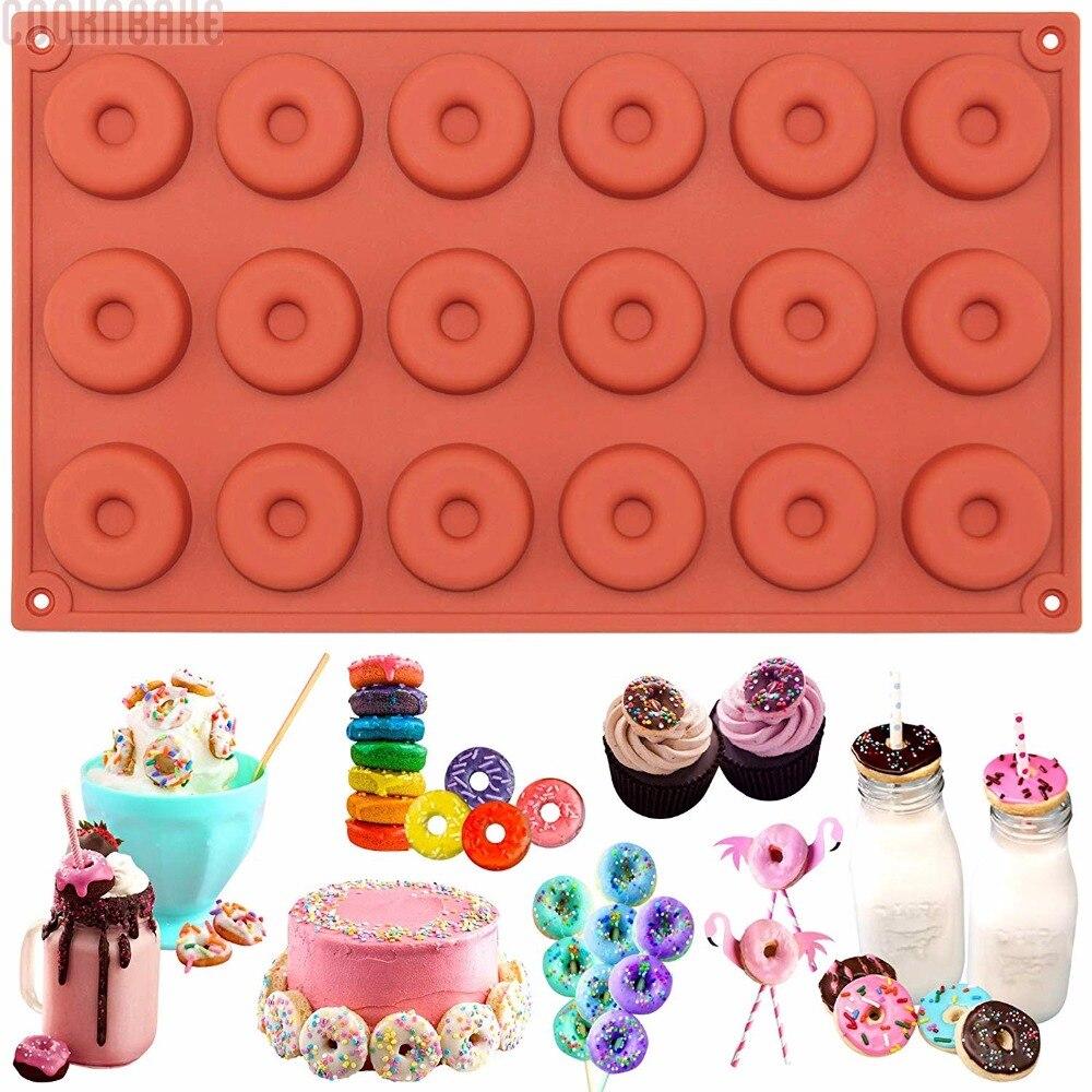 COOKNBAKE DIY Silikonový pekárenský materiál Forma 18 Mini koblihy Forma na čokoládový sušenkový koláč SCM-001-1