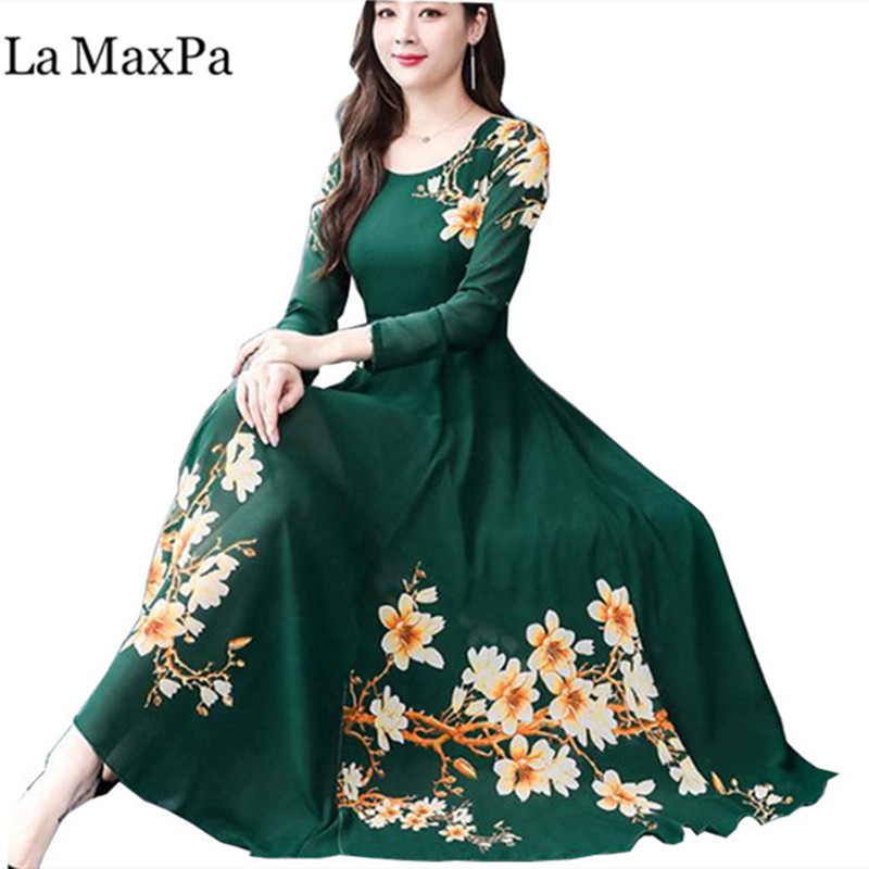 Bohemian Style Dress 2019 Autumn New Arrival Round Collar Flower Printed Long Sleeve 3XL Plus Size