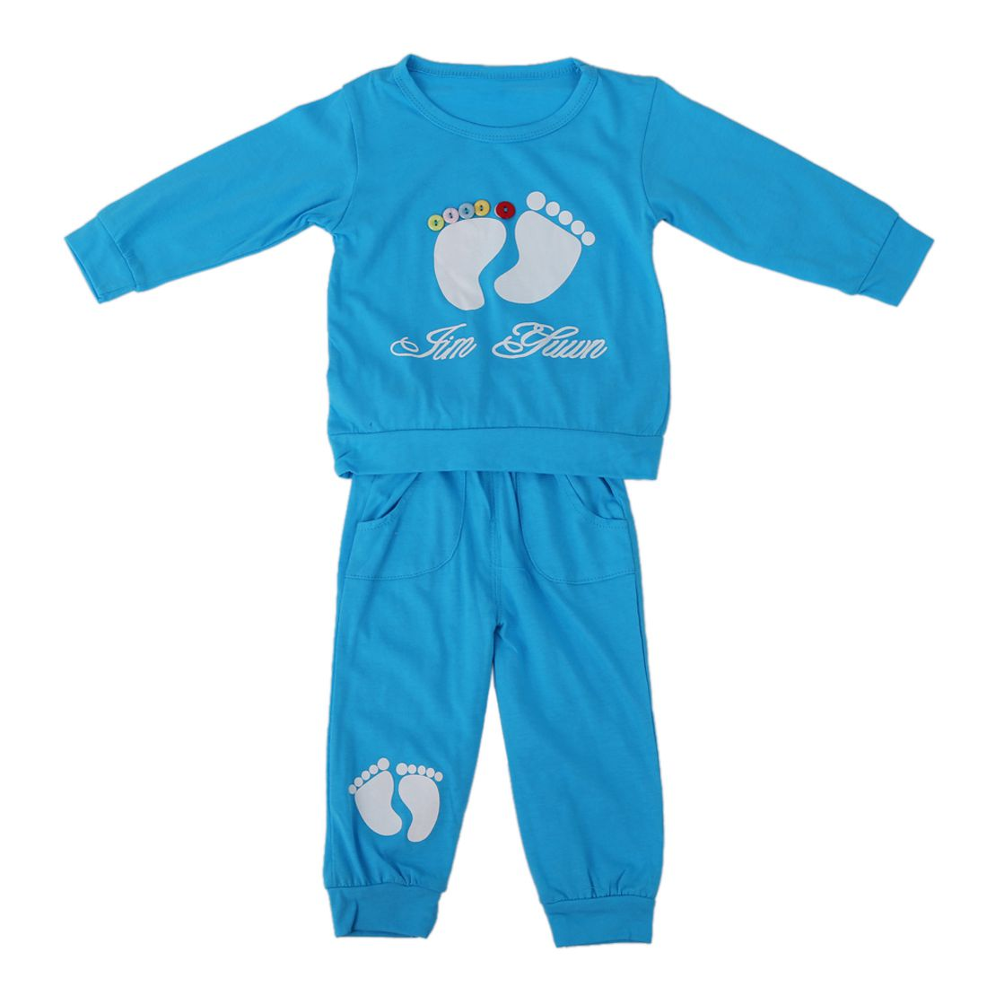 ABWE Best Sale High Quality 100% Cotton baby clothing set,Toddlers children set,baby boys girls 2 pcs Footprints BLUE GREEN