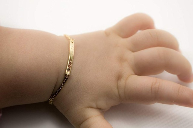 Custom Baby Name Bracelet Toddler Child Id Personalized Bar Gold Filled 4 Chain Customized Cursive