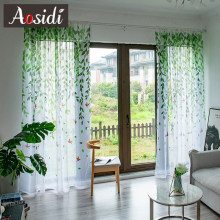 AOSIDI Willow Modern Tulle Curtains For Living Room Bedroom Bird Printed Voile Sheer Curtains For Window Tulle Curtains Drapes(China)