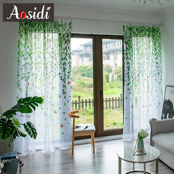 AOSIDI Willow Modern Tulle Curtains For Living Room Bedroom Bird Printed Voile Sheer Curtains For Window Tulle Curtains Drapes