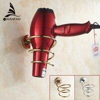 Free Shipping Gold Brass Hair Dryer Rack Bathroom Accessorieshairdryer Holder Hair Dryer Rack Wall Storage Rack