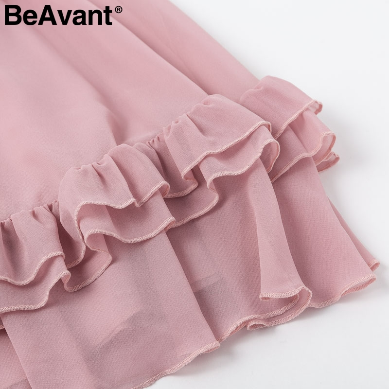 HTB1LRGGaLfsK1RjSszgq6yXzpXa4 - BeAvant Off shoulder strap chiffon summer dresses Women ruffle pleated short dress pink Elegant holiday loose beach mini dress