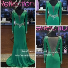 Real Sample Emerald Green Long Prom Dresses 2017 Deep V-neck Beaded Long Sleeve See Through Back Mermaid Prom Dress