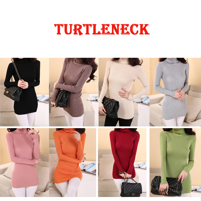 Elastic Sweaters Long-Sleeve Female Pullovers Turtleneck Winter Autumn Women Clothes Jumper  Streetwear Knitted Tops Black Red S 3