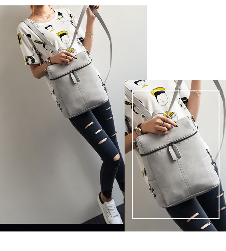 HTB1LRGRa.vrK1RjSspcq6zzSXXab Simple Style Backpack Women Leather Backpacks For Teenage Girls School Bags Fashion Vintage Solid Black Shoulder Bag Youth XA568